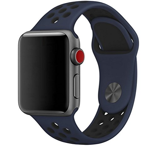 Soft Silicone Sport Style Replacement Band for Apple Watch 38/42mm,Strap Replacement Apple Watch Band for iWatch Series 3, Series 2, Series 1, Sport and Edition (Navy-multihole, 38mm) by PAPAGALO