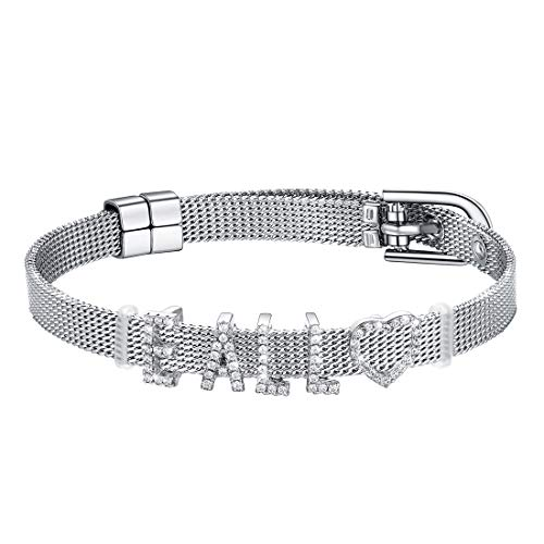 (U7 Stainless Steel 8MM Wide Belt Buckle Bracelet with 925 Sterling Silver Customized Charms, Name Bracelets Bangle for Man and Women)