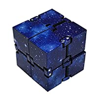 Infinity Cube Fidget Toy, Single Finger Endless Fun Decompression Stress Relief Fidget Anti Anxiety Toys for Kids and Adults-ABS Electroplate Metal