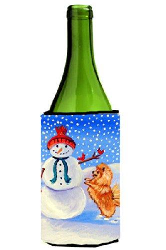 Snowman Bottle Hugger - Snowman with Pomeranian Winter Snowman Wine Bottle Beverage Insulator Beverage Insulator Hugger