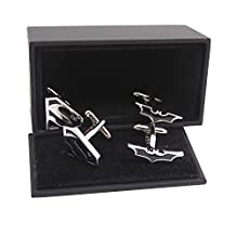 Masalong US Superhero retro Cuff Links Black Superman & black Batman Party mens cufflinks 2 Pairs
