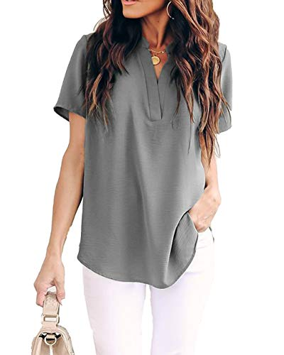 Allimy Women Summer Short Sleeve Tunic Tops Casual Chiffon Silk Blouses Plus Size Large Grey