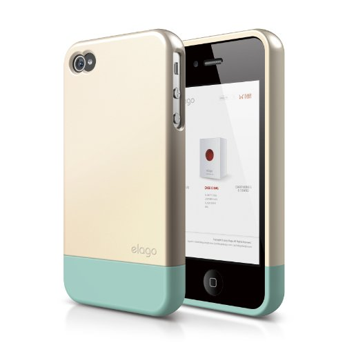 elago S4 Glide Case for AT&T, Sprint and Verizon iPhone 4/4S - eco friendly packaging (Champagne Gold+Coral Blue) (Coral Iphone 4 Case)