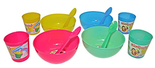 Cool Change Color Changing Cereal Bowl Set, Includes 4 Plastic Bowls and 4 Spoons and 4 Ridged Tumblers, Multicolor ()