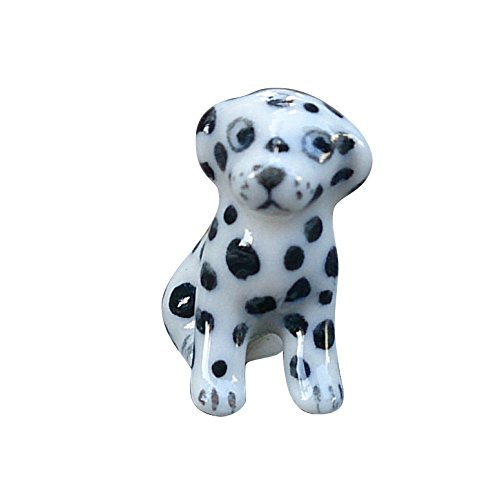 Dalmatian Figurine Dog (Sansukjai Micro Tiny Dalmatian Figurines Ceramic Hand Painted Animals Collectible Dog Lover Gift Home Decor)