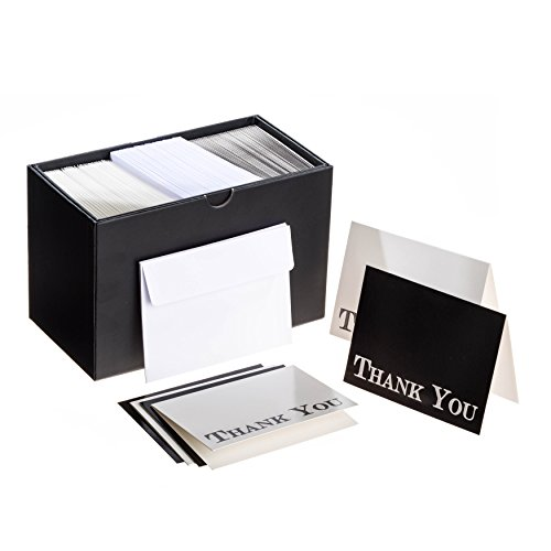 Set of 100 Premium Quality Matte Folded Thank You Cards - 50 in Ivory and 50 in Black - Together with Self-Sealing Adhesive White Envelopes - Presented in a Strong and Stylish Reusable Gift Box