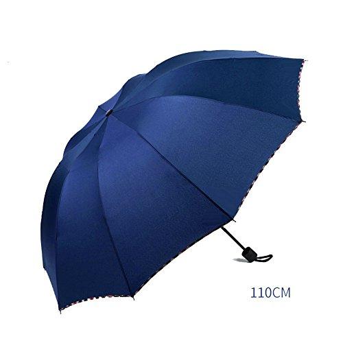 LybCvad Regenschirm Reizender doppelter schwarzer Regenschirm der automatischen Regenschirmregenfarbe Schrumpfregenschirm großer Doppelgebrauch, zehn manuelle Modelle der Knochen - blau