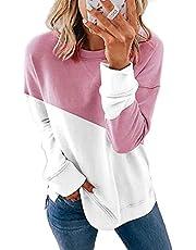 isermeo Womens Casual Crewneck Color Block Sweatshirt Striped Loose Soft Long Sleeve Pullover Tops Shirts S-XXL