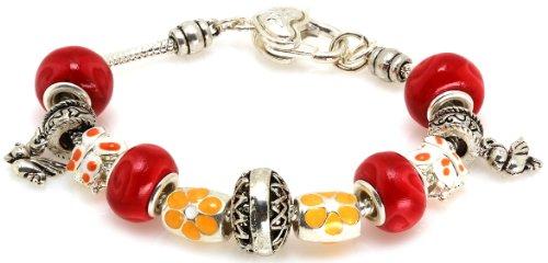Royal Diamond Love Bird Butterfly Fashion Designer Bracelet with Murano Glass Beads -