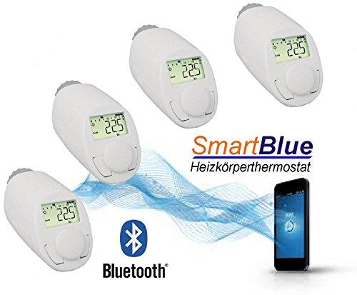SmartBlue Heizkö perthermostat Bluetooth 4-er Set, Programmierung ü ber Smartphone oder Tablet eQ-3