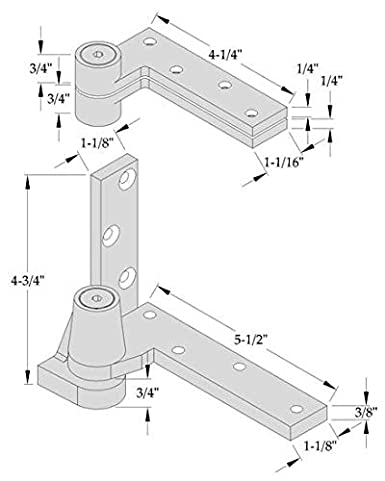 Includes 0180 Top /& 0195B Bottom Satin Stainless Steel, RH ABH 0195 3//4 Offset Pivot Set Jamb Mounted