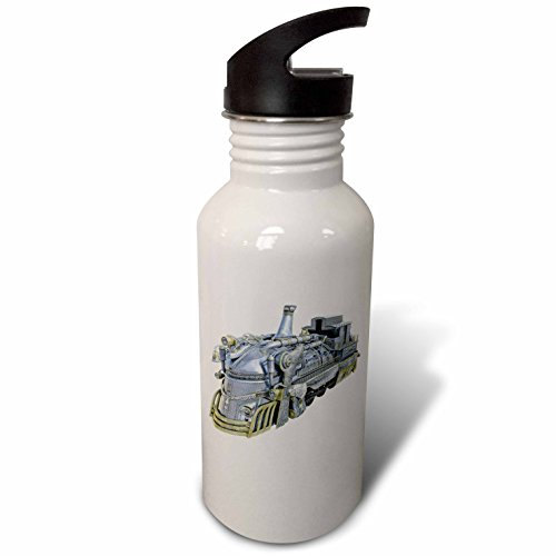 3dRose Boehm Graphics Steampunk – A Chrome and Gold Steampunk Train Engine – Flip Straw 21oz Water Bottle (wb_256719_2)