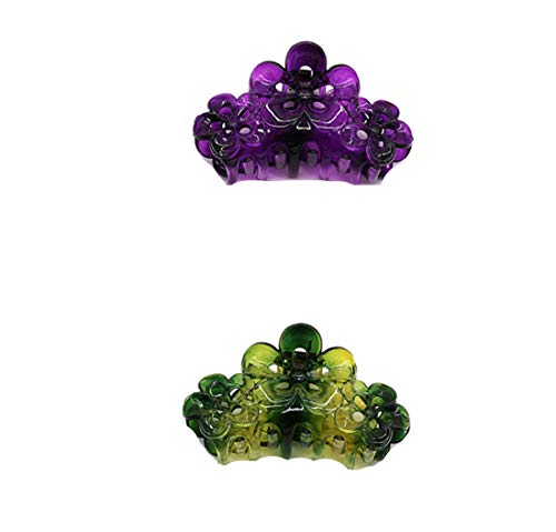 CONOFA 2 Pieces Large Grip Octopus Clip Plum blossom Hair Claw Octopus Jaw Hair Claw Clips for Thick Hair (Green+ Violet)