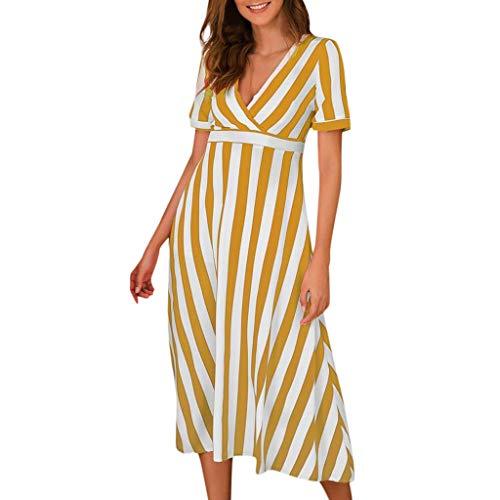 FEDULK Womens Summer Dress Zebra Striped Print V-Neck Short Sleeve Bohemian Casual Dress Sundress(Yellow, Large)