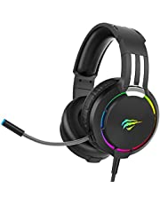 havit RGB Wired PC Gaming Headset with Microphone & Volume Control, 50mm Drivers for Computer, PS4, Xbox, Nintendo Switch and More, H2010d (Black)