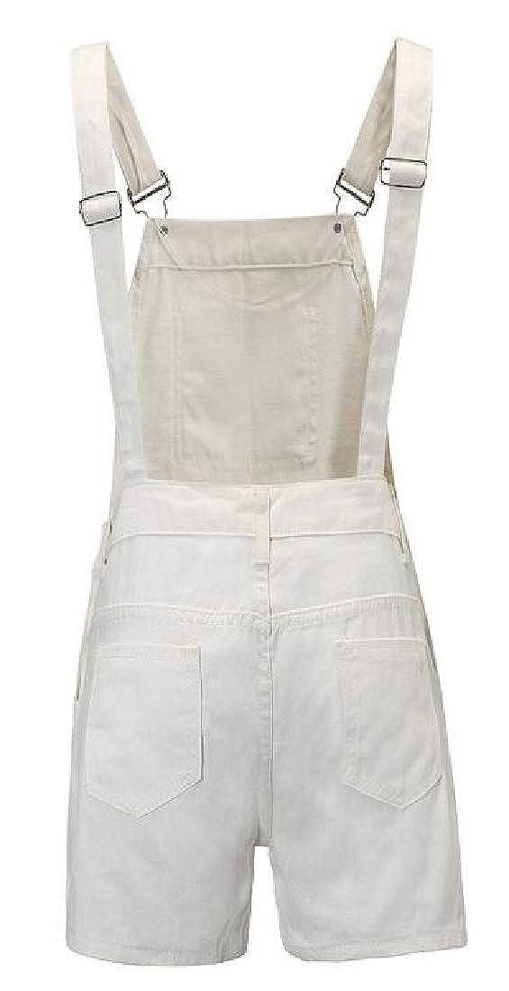 Domple Women Washed Denim Solid Summer Casual Sport Girls-Bib Shorts Denim Overalls