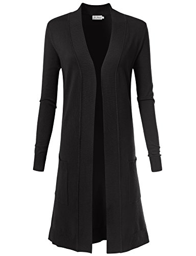 Women's Solid Soft Stretch Longline Long Sleeve Open Front Cardigan L Black (Long Cardigan Ribbed)