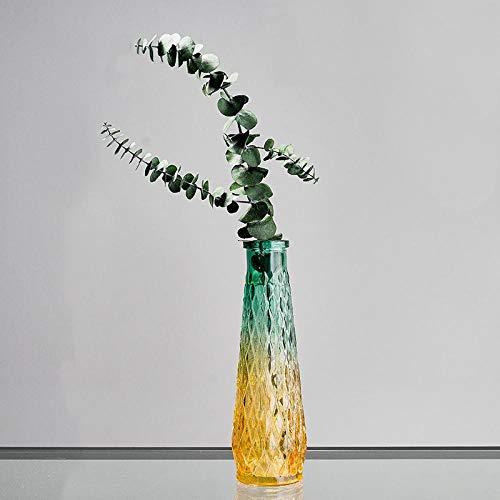 - GOUDAIDAI Gift for The Teacher Nordic Style Modern Minimalist Embossed Glass vase Home Bedroom Living Room Desktop Art Flower Container Decoration,Diamond Pattern vase+Eucalyptus Flower