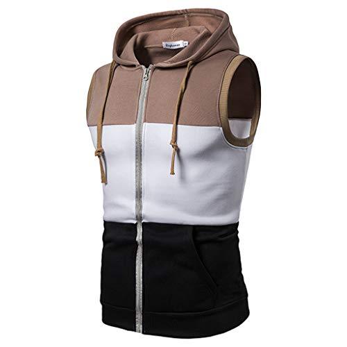 Prime Mens Slim Fit Tank Top Hoodie Workout, Zip-Up Sleeveless Vest Triple Color Stripe Tee (XL, ()