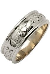 Mens Wide Rounded Claddagh Irish Wedding Ring Silver Irish Made