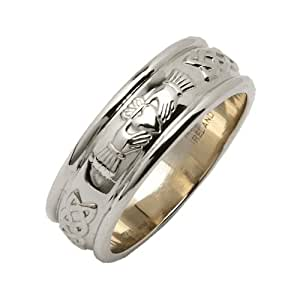 Mens 14k White Gold Wide Rounded Claddagh Wedding Ring Size 9