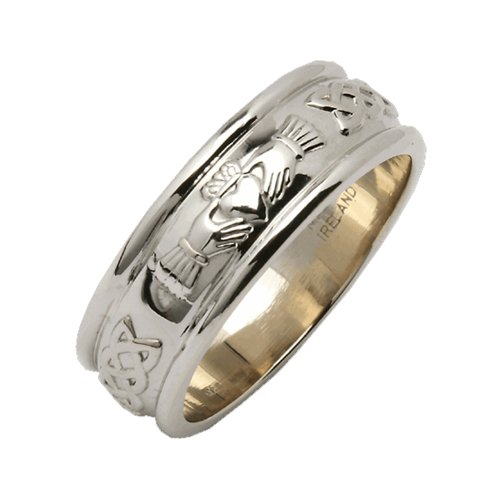 Mens Sterling Silver Wide Rounded Claddagh Irish Wedding Ring Size 10
