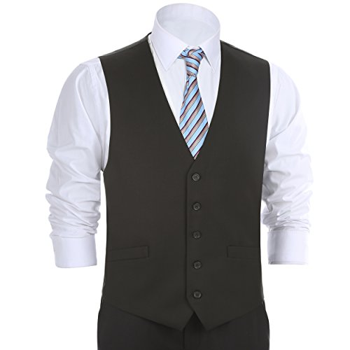 Chama Men's Formal Classic Fit Business Dress Suit Button Down Vest Waistcoat(38 Regular,Black)