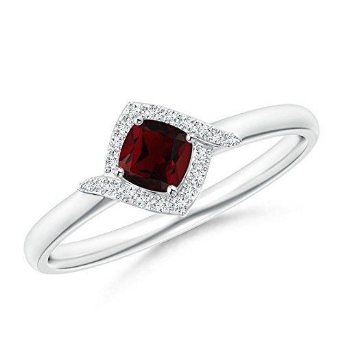 Cushion Garnet and Diamond Halo Promise Ring in 14K White Gold (4mm Garnet)
