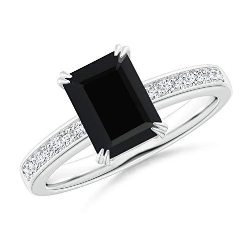 Octagonal Black Onyx Cocktail Ring with Diamonds in 14K White Gold (8x6mm Black - Diamond Emerald Cut Wg 14k