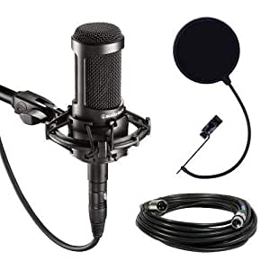 Audio-Technica AT2035 Cardioid Condenser Microphone Bundle with Pop Filter with 2 Layered Mesh and 10-foot XLR Cable