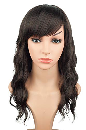 16 Inches Black Mix Brown Fashion Wavy Synthetic Hair Wigs For Black Women With Side Bangs Free Wig Cap (BLACK MIX BROWN(1B/33#)) (Shandy Wig)