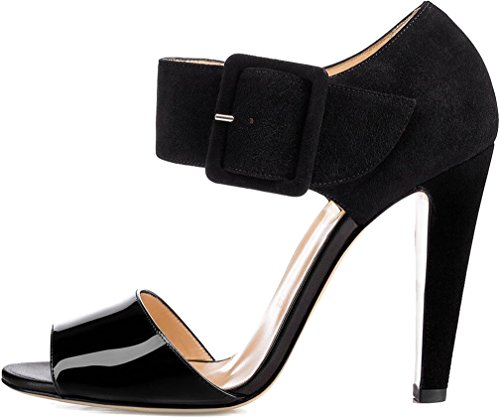 Calaier Mujer Capool Bloquear 11CM Sintético Hebilla Sandalias de vestir Zapatos Negro