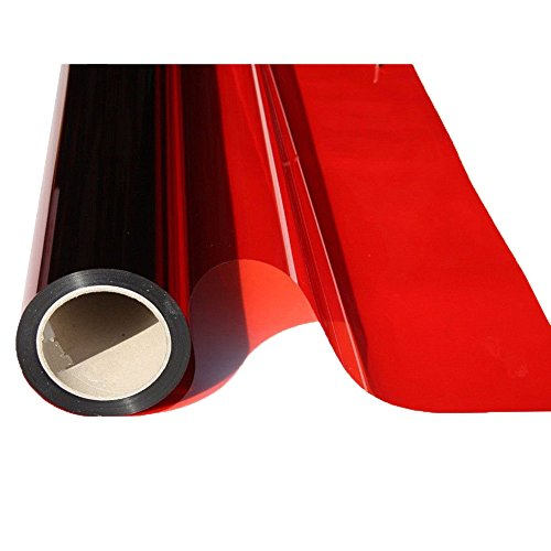 HOHO 19.6'' x16ft Roll Transparent Red Window Film Solar Tint Self-adheisve Block Sun Decorative Window Glass for Office Home Building by HOHO