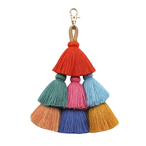 Tassel Pom Pom Key Chain Colorful Boho Charm Key Ring, Fashion Accessories for Women - Key Bag Ring
