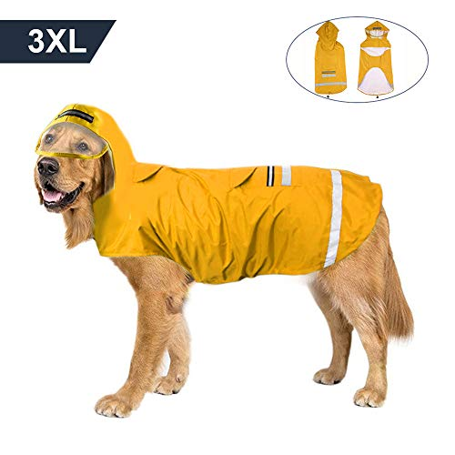 (Dog Raincoat Yellow for Medium Dogs Waterproof Hooded Dog Jacket Poncho Breathable with Safe Reflective Strip, Leash Hook and Pocket)