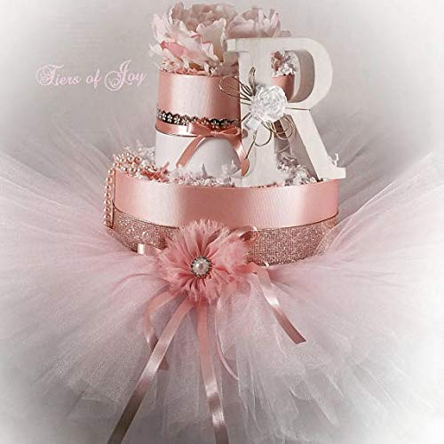 Blush Pink Champagne Diaper Cake Flower Cake Topper Tutu Hair Bows Baby Girl Baby Shower Gift Newborn Baby Birthday Gift for her (Pink & Gold)