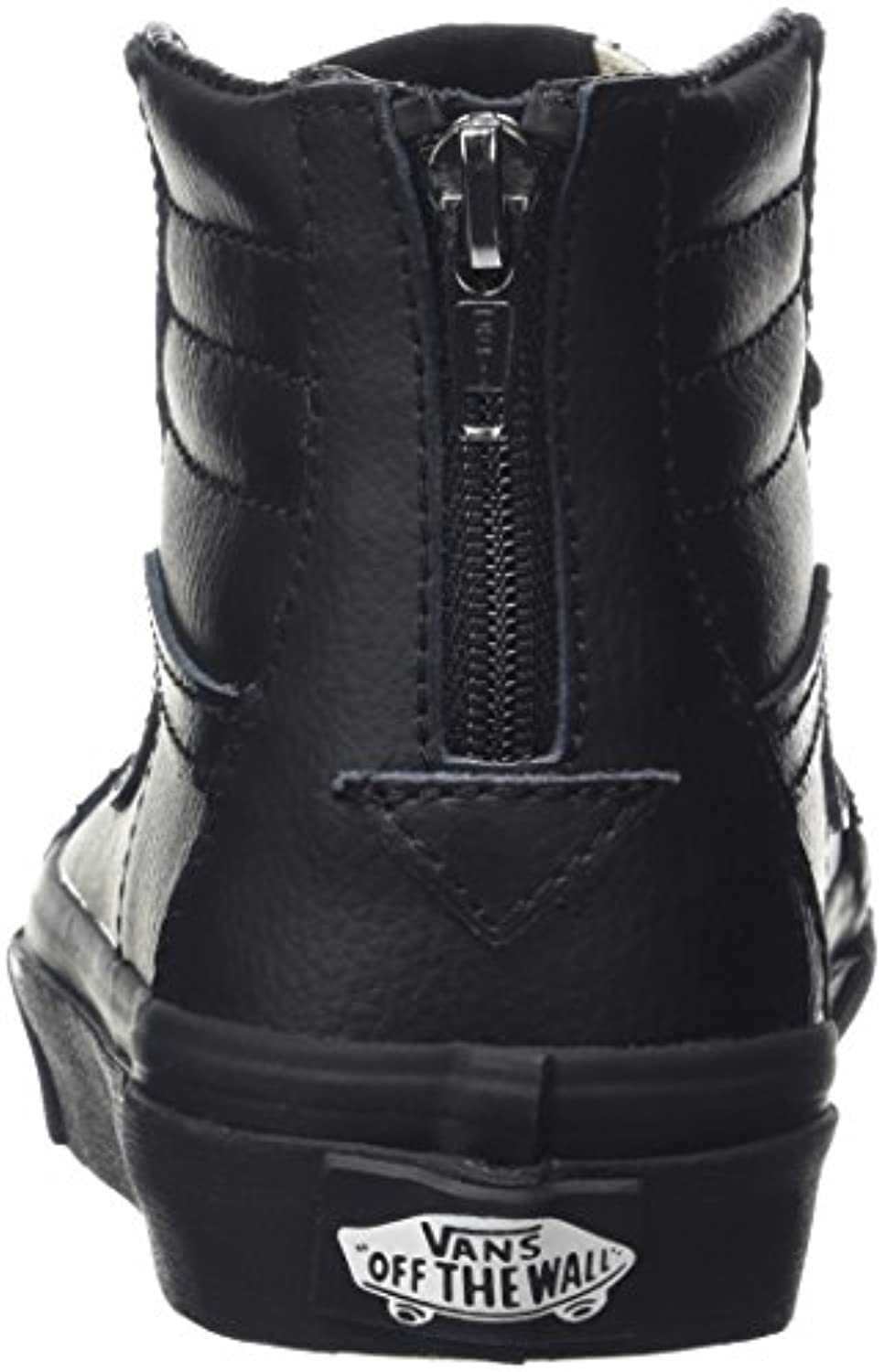 Vans Unisex Kids' SK8 Zip Hi-Top Sneakers, Black (Leather Black/Black), 1 UK