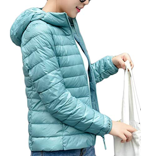 Cromoncent Women's Hooded Quilting Light Weight Classic Fitness Outerwear Thermal Down Coat Light Blue XXXL by Cromoncent