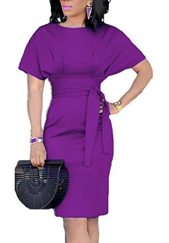 Yayu Womens Casual Boat Neck Slim Bodycon Business Party Work Pencil Dress Purple M by Yayun