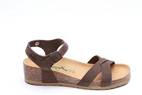 Bionatura - Sandalias de vestir de cuero nobuck para mujer Nabuk Testa di Moro