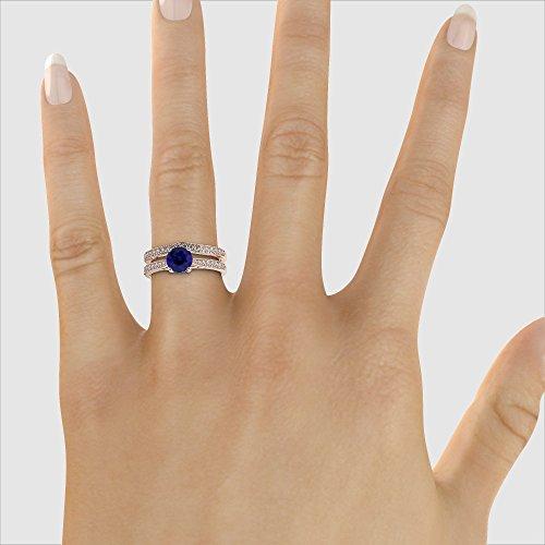 Or Rose 18carats 1CT G-H/VS sertie de diamants ronds Cut Saphir et mariée Bague de fiançailles et ensemble de Agdr-2053