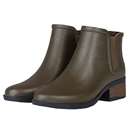 UNICARE Women's Chelsea Rain Boots Waterproof Slip on Shoes Nonslip Short Ankel Boots Rubber Rain Footwear Handmade, Olive, US Size 8