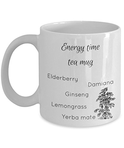 (Energy time tea mug with herbal remedies - A Gift for Natural Recovery from Chronic Fatigue, Adrenal Fatigue, and Coffee Addiction)