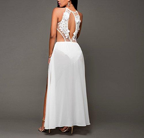Sleeveless Chiffon Strap Dress Sexy Split Maxi Spaghetti Clubwear Long White Lace Women w1qXn5WcBB