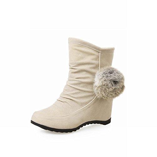 Carolbar Kvinna Söta Pom-poms Dekorationer Elegans Chic Charm Kilklack Klänning Boots Beige