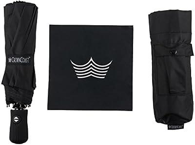 CrownCoast 60 MPH Windproof Compact Travel Umbrella