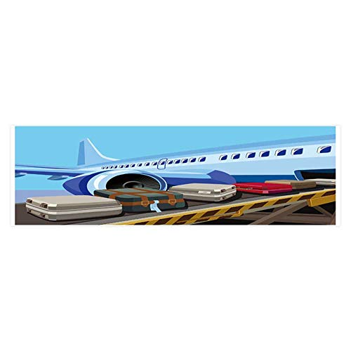 Dragonhome Fish Tank Decorations Stylized Vector Theme of Civil Aviation Jet Airplane Ready to take on HD Fish Tank Decorations Sticker L29.5 x H11.8