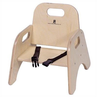 Wood Classroom Toddler Stackable Chair with Strap Seat Height: 9""