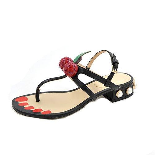 clip Una fibbia bassa e 39 traccia perla fessure scarpa sandali nella con con approssimativa grassetto nera TCTUqwnp4