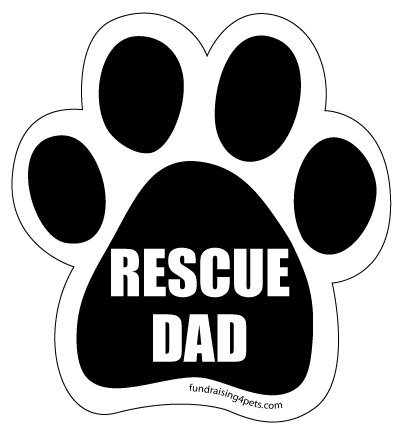 Rescue Dad Paw Magnet Black